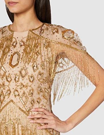 Frock and Frill Damen High Neck Embellished Mini Dress Cocktailkleid, Gold, 40 - 3