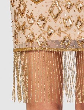 Frock and Frill Damen High Neck Embellished Mini Dress Cocktailkleid, Gold, 40 - 5