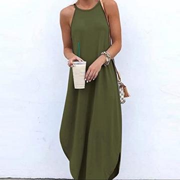 Hailmkont Kleider Damen Elegant Kleid Einfarbige Maxikleid Lang Leinen Keider Moderne Neckholder Abendkleid Ärmellos Plissee Kleid - 2
