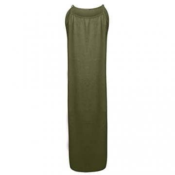 Hailmkont Kleider Damen Elegant Kleid Einfarbige Maxikleid Lang Leinen Keider Moderne Neckholder Abendkleid Ärmellos Plissee Kleid - 3