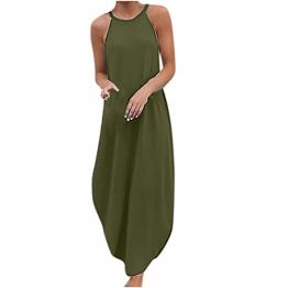 Hailmkont Kleider Damen Elegant Kleid Einfarbige Maxikleid Lang Leinen Keider Moderne Neckholder Abendkleid Ärmellos Plissee Kleid - 1