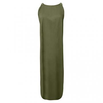 Hailmkont Kleider Damen Elegant Kleid Einfarbige Maxikleid Lang Leinen Keider Moderne Neckholder Abendkleid Ärmellos Plissee Kleid - 4
