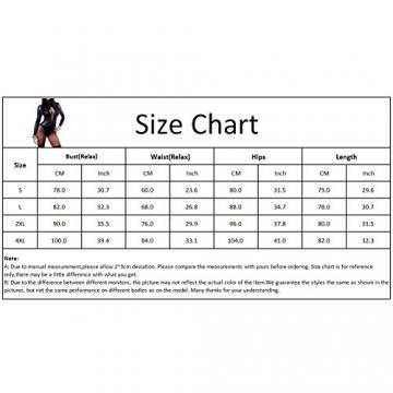 iBaste Damen Body Leder Wetlook Jumpsuit Schnürung Overall Reizwäsche Negligees Lange Ärmel - 5