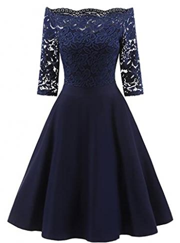 LA ORCHID Laorchid Damen Rockabilly Kleid Knielang elegant Sommerkleid Damen Vintage Spitze cocktailkleid Kurzarm Kleider schulterfrei Abendkleider Dunkel Blau S - 1