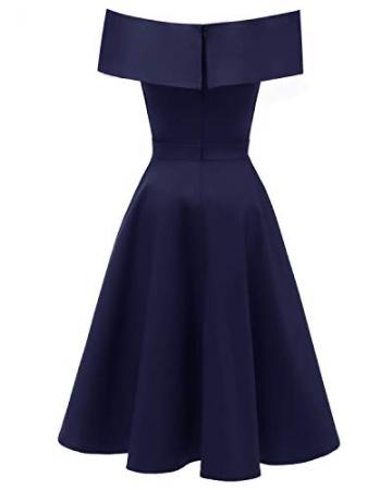 Laorchid Damen Vintage cocktailkleid schulterfrei v Ausschnitt a Linie Kleid Abendkleid elegant Partykleid Knielang ballkleid Navy M - 2