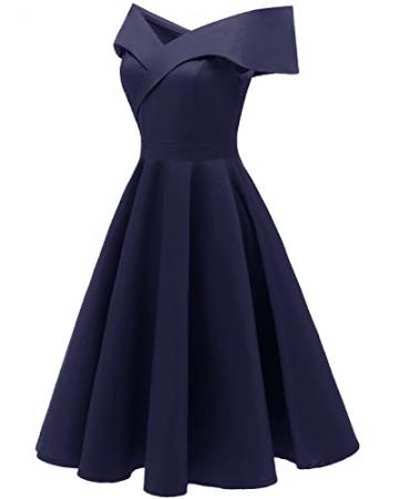 Laorchid Damen Vintage cocktailkleid schulterfrei v Ausschnitt a Linie Kleid Abendkleid elegant Partykleid Knielang ballkleid Navy M - 3