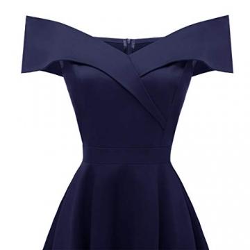 Laorchid Damen Vintage cocktailkleid schulterfrei v Ausschnitt a Linie Kleid Abendkleid elegant Partykleid Knielang ballkleid Navy M - 4
