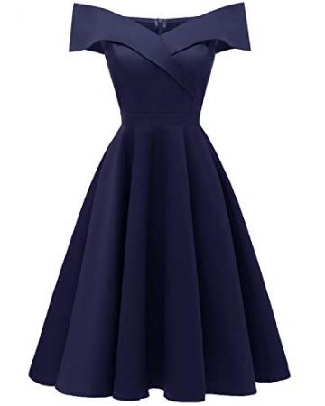 Laorchid Damen Vintage cocktailkleid schulterfrei v Ausschnitt a Linie Kleid Abendkleid elegant Partykleid Knielang ballkleid Navy M - 1