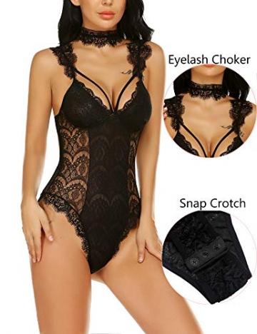 Lucyme Erotik Reizwäsche Bodysuit Sexy Dessous Set Damen Body Tiefer V-Ausschnitt Spitze Erotische Unterwäsche Frauen, Schwarz, XXL - 2