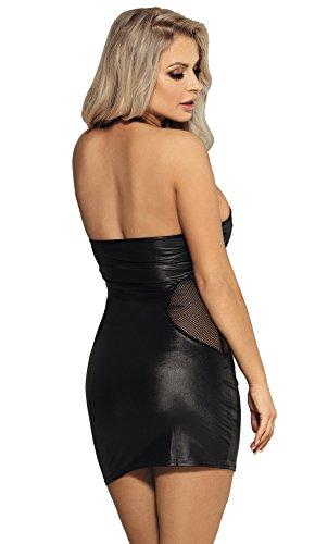 marysgift Damen Dessous Wetlook Babydoll Mini-Kleid große größen Party Dress Kunstleder Schwarz 5XL 48 50 - 3