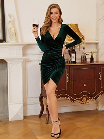 MSBASIC Abendkleid Kurz Umstandskleid Winter Enges Kleid Elegant Partykleid Schwarz Klein, Schwarz-Langarm - 4