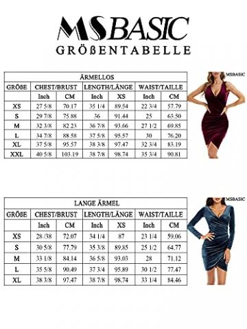 MSBASIC Abendkleid Kurz Umstandskleid Winter Enges Kleid Elegant Partykleid Schwarz Klein, Schwarz-Langarm - 5