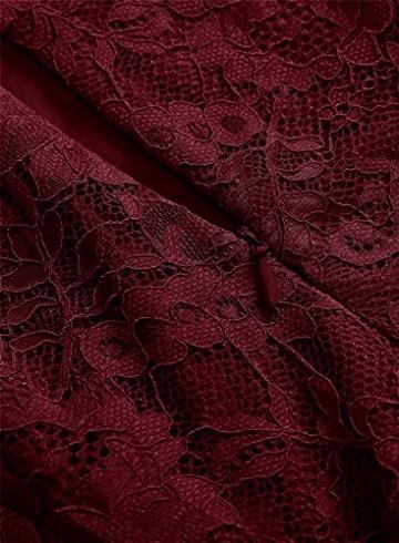 MuaDress 6008 Cocktailkleid Knielang Cape Ärmel Spitzen Brautjungfernkleid Floral Elegant Burgundy XS - 6