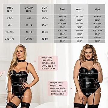 ohyeahlady Damen Body Wetlook Leder Dessous Große Größen Rückenfreie Sexy Clubwear Nachtwäsche Reizwäsche mit Strapse schwarz XS-4XL(EU 44-46,Schwarz,XL-XXL) - 6