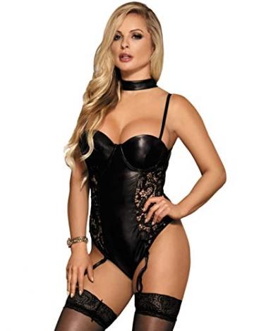 ohyeahlady Damen Body Wetlook Leder Dessous Große Größen Rückenfreie Sexy Clubwear Nachtwäsche Reizwäsche mit Strapse schwarz XS-4XL(EU 40-42,Schwarz,M-L) - 1