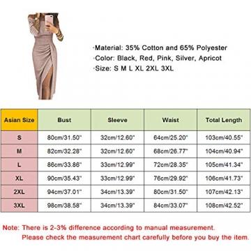 OrientalPort Elegant Schulterfreies Kleid Damen Pailletten Bodycon Cocktailkleid Partykleid Sexy Seitensplit Abendkleid Maxikleid, Champagner, XL - 2