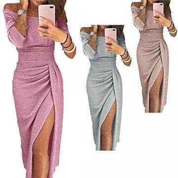 OrientalPort Elegant Schulterfreies Kleid Damen Pailletten Bodycon Cocktailkleid Partykleid Sexy Seitensplit Abendkleid Maxikleid, Champagner, XL - 4