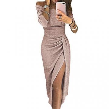 OrientalPort Elegant Schulterfreies Kleid Damen Pailletten Bodycon Cocktailkleid Partykleid Sexy Seitensplit Abendkleid Maxikleid, Champagner, XL - 1