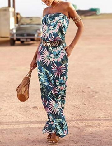 SEBOWEL Damen Maxikleid Sommer Boho Kleider Lang Bandeau Ärmelloses Sommerkleid Strandkleider Elegante Freizeitkleid CocktailKleider Abendkleid (S, Grün) - 2