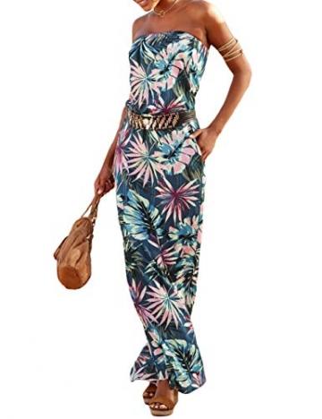 SEBOWEL Damen Maxikleid Sommer Boho Kleider Lang Bandeau Ärmelloses Sommerkleid Strandkleider Elegante Freizeitkleid CocktailKleider Abendkleid (S, Grün) - 1