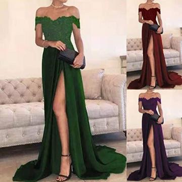 Shineshae Damen sexy Split Abendkleid,Einschulteriger Spitzenrock,Elegantes Kleid mit hoher Taille,Wischrock Party Kleid Ballkleid - 2