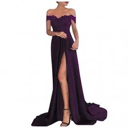Shineshae Damen sexy Split Abendkleid,Einschulteriger Spitzenrock,Elegantes Kleid mit hoher Taille,Wischrock Party Kleid Ballkleid - 1