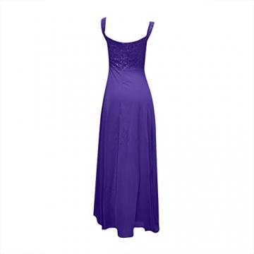 Shineshae Damen sexy Split Abendkleid,Einschulteriger Spitzenrock,Elegantes Kleid mit hoher Taille,Wischrock Party Kleid Ballkleid - 4