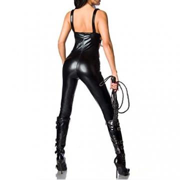 SSScok Leder Sexy Dessous Erotische Wetlook Bodysuit Sleeveless Clubwear Nachtwäsche - 2
