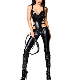 SSScok Leder Sexy Dessous Erotische Wetlook Bodysuit Sleeveless Clubwear Nachtwäsche - 1
