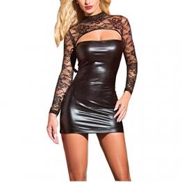 SSScok Minidress Leder Sexy Dessous Erotische Babydoll Clubwear Nachtwäsche Pyjamas (Schwarz, One Size) - 1