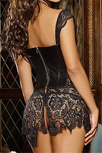 Sxybox Damen Faux Leder Korsett Korsage Gothic Sexy Dessous Corsagenkleid Vollbrust Korsagenkleid Corsage Clubwear,Schwarz,XL - 3