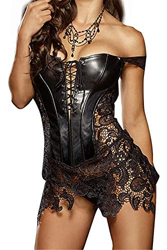 Sxybox Damen Faux Leder Korsett Korsage Gothic Sexy Dessous Corsagenkleid Vollbrust Korsagenkleid Corsage Clubwear,Schwarz,XL - 1