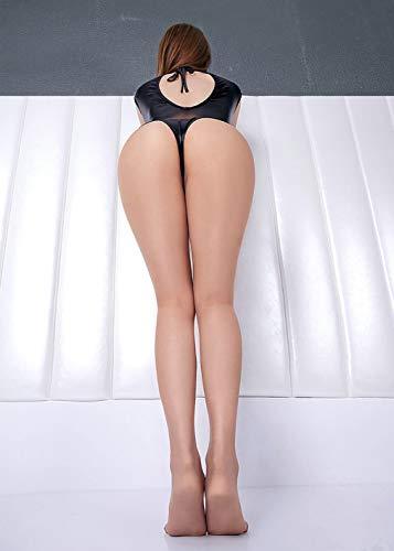 Wxxly Leder Sexy Dessous Clubwear Kostüm Frauen Jumpsuit Body Babydoll Nachthemd mit offenem Schritt,Schwarz,M - 7