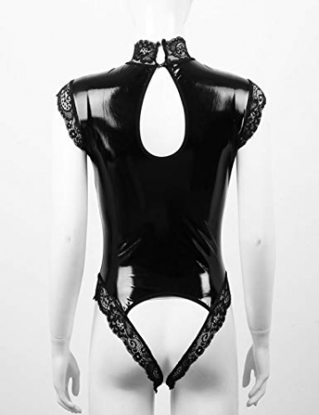 YiZYiF Damen Wetlook Bodysuit Brust Offen Body Catsuit Top Shirt Spitze Stringbody Erotik Lack Leder Dessous Trikot Babydoll Lingerie Crotchless Schwarz XL - 5