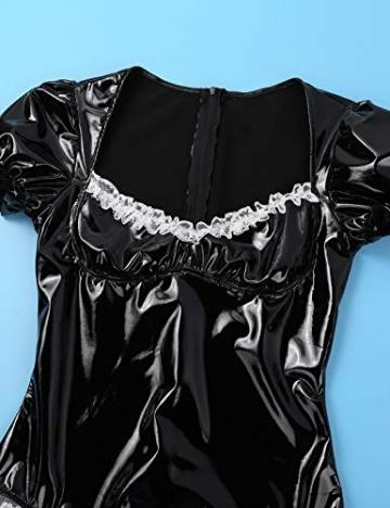 YiZYiF Damen Wetlook Lack Leder Body Dienstmädchen Kostüm Cosplay mit Schürze, Halsband Babydoll Lingerie Dessous Gogo Reizwäsche Schwarz XL - 5