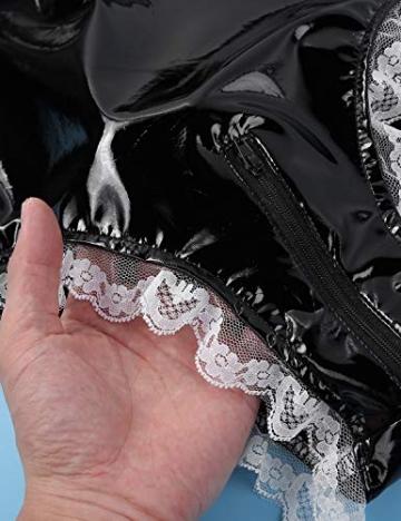 YiZYiF Damen Wetlook Lack Leder Body Dienstmädchen Kostüm Cosplay mit Schürze, Halsband Babydoll Lingerie Dessous Gogo Reizwäsche Schwarz XL - 6