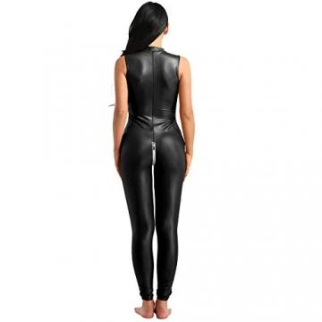 YiZYiF Frauen Einteiler Wetlook Leder Bodysuit Stehkragen Ärmellos Overall Trikot Body Catsuit mit Reißverschluss Jumpsuit Ganzkörperanzug Clubwear Schwarz L - 3
