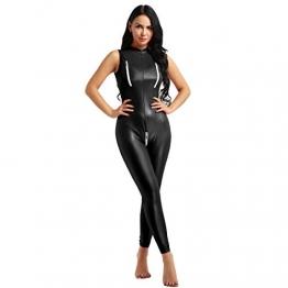 YiZYiF Frauen Einteiler Wetlook Leder Bodysuit Stehkragen Ärmellos Overall Trikot Body Catsuit mit Reißverschluss Jumpsuit Ganzkörperanzug Clubwear Schwarz L - 1