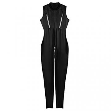 YiZYiF Frauen Einteiler Wetlook Leder Bodysuit Stehkragen Ärmellos Overall Trikot Body Catsuit mit Reißverschluss Jumpsuit Ganzkörperanzug Clubwear Schwarz L - 4