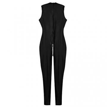 YiZYiF Frauen Einteiler Wetlook Leder Bodysuit Stehkragen Ärmellos Overall Trikot Body Catsuit mit Reißverschluss Jumpsuit Ganzkörperanzug Clubwear Schwarz L - 5
