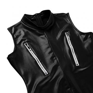 YiZYiF Frauen Einteiler Wetlook Leder Bodysuit Stehkragen Ärmellos Overall Trikot Body Catsuit mit Reißverschluss Jumpsuit Ganzkörperanzug Clubwear Schwarz L - 6